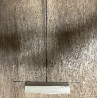板とに足を測る為の線を描いた画像